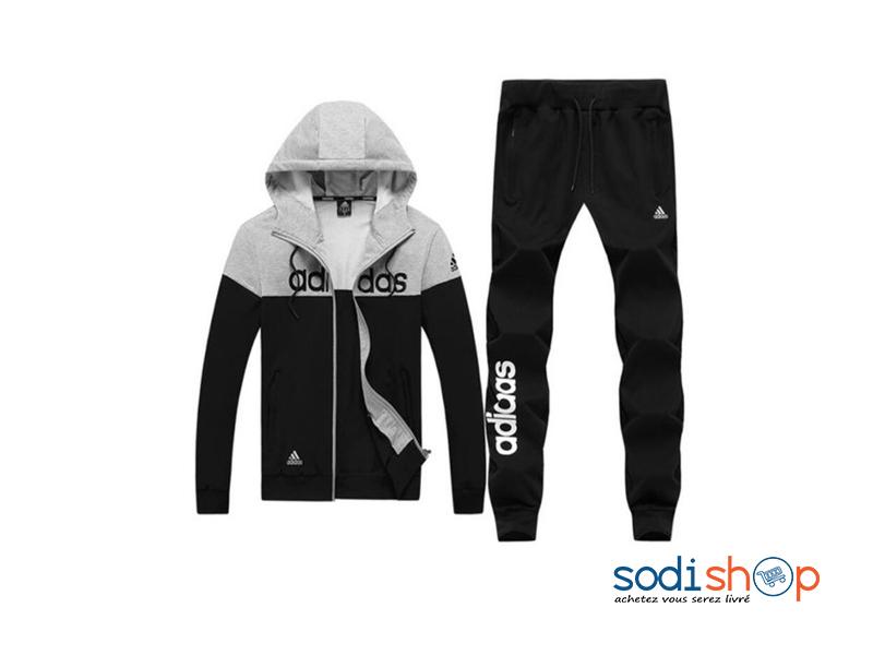Ensemble Adidas Sweat à Capuche + Pantalon Jogging Couleur Noir Gris WA0021